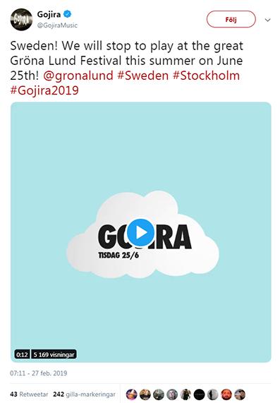 Gojira twitter gröna lund